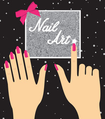 Woman hand with pink fingernails on silver background. Gift cert