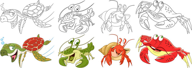 Cartoon animals set. Collection of arthropods and creeping reptilians. Turtle (tortoise, terrapin), hermit crab, lobster, crayfish, crawfish. Coloring book pages for kids.
