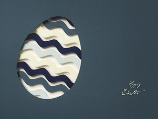 paper egg - happy easter - 3D abstract background / card ( holiday , spring )
