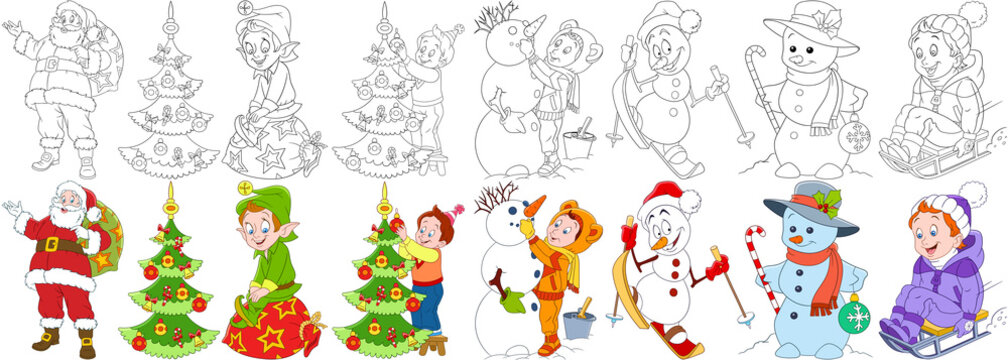 Cartoon christmas set. New Year collection. Santa claus with presents, elf, child decorating fir tree, snowman skiing, candy stick and bauble, young boy sledding. Coloring book pages for kids.