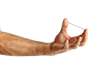 Hand with a rubber band