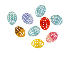 Easter eggs are in clothes isolated