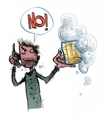 Unhappy Man Drinking Beer. Comic Illustration