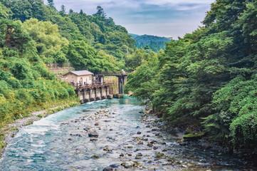 View of Kinugawa river near Kinugawa Onsen Hotel, Nikko, Japan