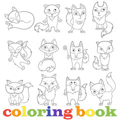 Illustration with set of contour funny foxes, coloring book