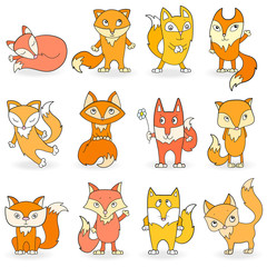Set of funny colored foxes on a white background isolated