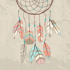 catcher with feathers. Vector hipster illustration. Ethnic design, boho, dreamcatcher tribal symbol.