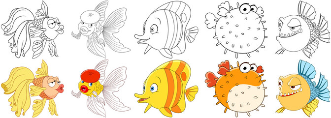 Cartoon animals set. Collection of fishes. Goldfish, butterfly fish, puffer fish (blowfish, sea porcupine, fugu), piranha. Coloring book pages for kids.