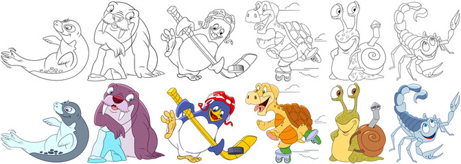 Cartoon animals set. Collection of ocean creatures. Sea lion (seal), walrus, penguin hockey player, turtle roller skating, snail with shell, scorpio. Coloring book pages for kids.