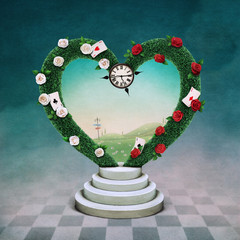 Conceptual illustration with green arch in shape of  heart and watch, Wonderland.