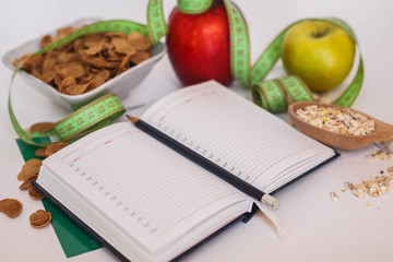 Healthy Food Diet with notepad