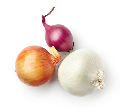 various onions on white background