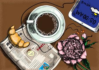 Morning coffee color sketch