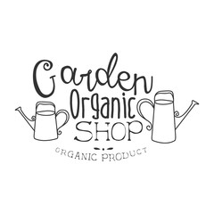 Garden Organic Natural Product Shop Black And White Promo Sign Design Template With Calligraphic Text