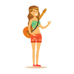Girl Hippie Dressed In Classic Woodstock Sixties Hippy Subculture Clothes With Guitar On Shoulder Belt