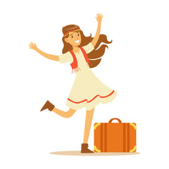 Hippie Dressed In Classic Woodstock Sixties Hippy Subculture Clothes, Dress And Vest Traveling With Suitcase