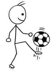 Vector Stickman Cartoon of Soccer Football Player Kicking the Ball