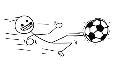 Vector Stickman Cartoon of Soccer Football Player in Slide Kicking the Ball