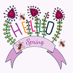 Hello Spring lettering with flower and bee