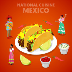Isometric Mexico National Cuisine with Tacos, Pepper and Mexican People in Traditional Clothes. Vector 3d flat illustration