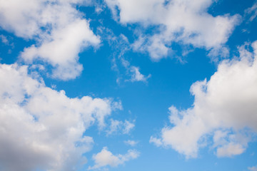 Bright blue sky with white clouds in clear Sunny day