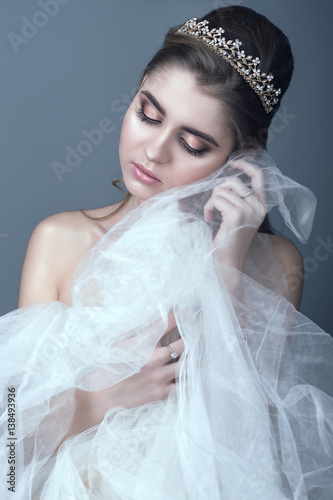 """""""Portrait of young beautiful bride in diadem with naked ..."""