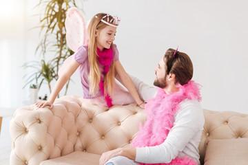 Little fairy sitting on the coach
