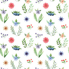 Seamless watercolor pattern with flowers and leaves isolated on white background