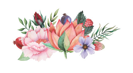 Hand painted watercolor charming combination of Flowers and Leaves isolated on white background