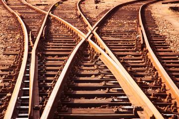 Wall Murals Railroad Cargo Railway tracks close up view