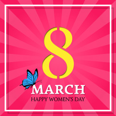 8 March, International Women's Day. Vector striped background with butterfly. Design template.