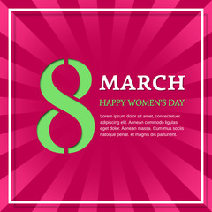 8 March Happy Women's Day. Vector background with space for text. Greeting card template.