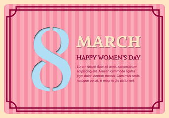 8 March International Women's Day. Retro design. Vector background with space for text. Striped pattern.