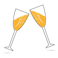 Two wine glasses with champagne. Icon on a white background