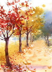 Watercolor Fall Landscape Autumn Trees Fallen Leaves Hand Painted Illustration