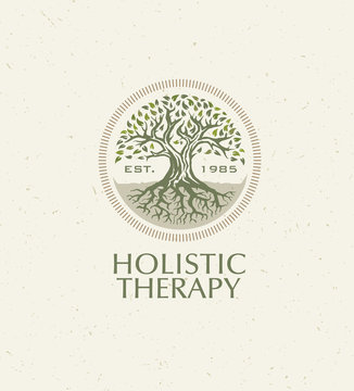 Holistic Therapy Tree With Roots On Organic Paper Background. Natural Eco Friendly Medicine Vector Concept
