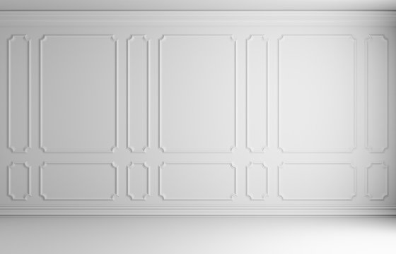 White wall in classic style room
