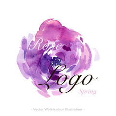 Vector watercolor logo image with pink and violet flower. For creating a modern and fashion, trendy design of wedding invitation, fresh spring banner, floral and flower backgrounds.