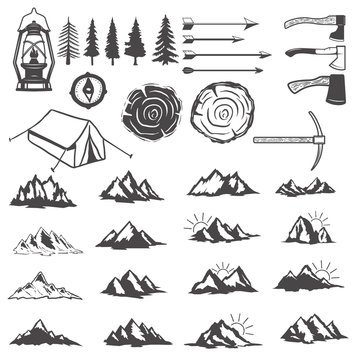 Set of mountains icons. Hiking elements. Design elements for logo, label, emblem, sign, menu. Vector illustration.