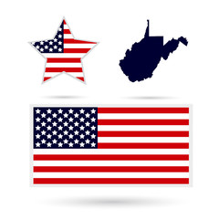 Map of the U.S. state of West Virginia on a white background. American flag, star