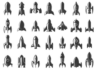 Set of the rockets icons on white background. Start up. Design element for logo, label, emblem, sign. Vector illustration.