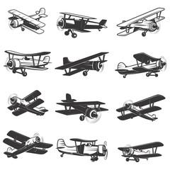 set of vintage airplanes icons. Aircraft illustrations. Design element for logo, label, emblem, sign. Vector illustration.