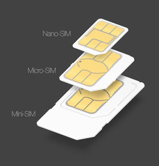 Set of SIM cards of different types. Vector illustration. It can be used in the design for websites, infographic, catalogs, brochures, magazines, etc.