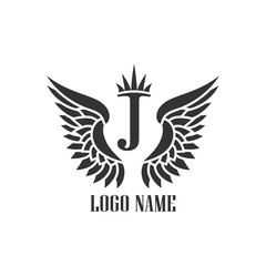 Wings black icons vector. Modern logo tamplate