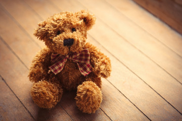 cute fluffy teddy bear on the wonderful brown wooden background