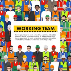 Seamless pattern social, teamwork and working team concept of people communication in flat style. Group of workers, builders and engineers standing together. Different nationalities and dress styles.