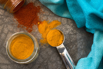 Spilled turmeric and paprika