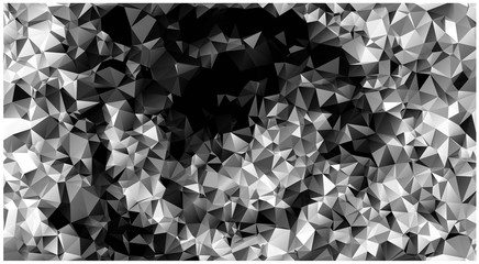 Abstract low poly Background made of triangles. Spiral. Black and white pattern. Substrate. The play of colours. Mask