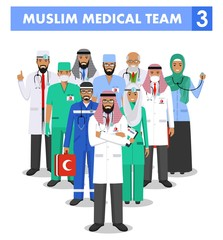 Medical concept. Detailed illustration of muslim arabian doctor and nurses in flat style isolated on white background. Practitioner arabic doctors man and woman standing. Vector illustration.