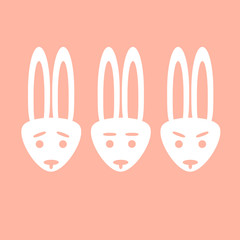 Emotional icons Easter bunny. Simple flat set of emotions isolated on a simple pink background. Sad, indifferent, angry.